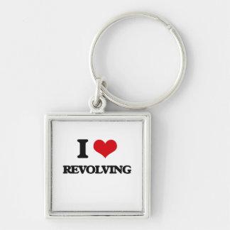 I Love Revolving Silver-Colored Square Keychain