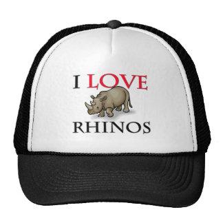 I Love Rhinos Hats