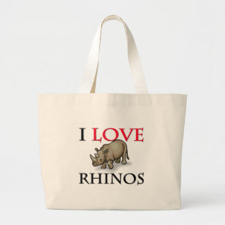 I Love Rhinos Large Tote Bag