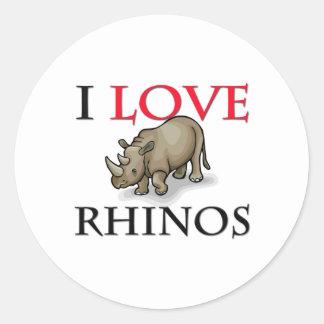 I Love Rhinos Round Sticker