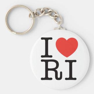 I LOVE RHODE ISLAND 2 BASIC ROUND BUTTON KEY RING