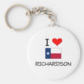I Love Richardson Texas Basic Round Button Key Ring