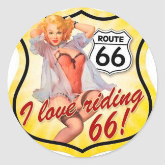 I Love Ridding Route 66 Pin Up Girl Round Sticker