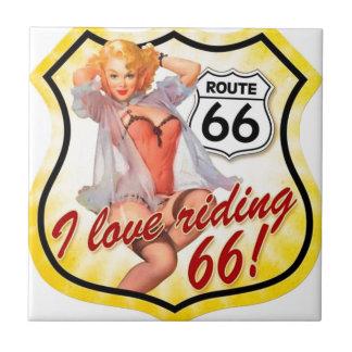 I Love Ridding Route 66 Pin Up Girl Tile