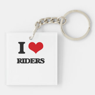 I Love Riders Double-Sided Square Acrylic Keychain