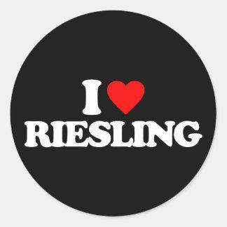 I LOVE RIESLING ROUND STICKER