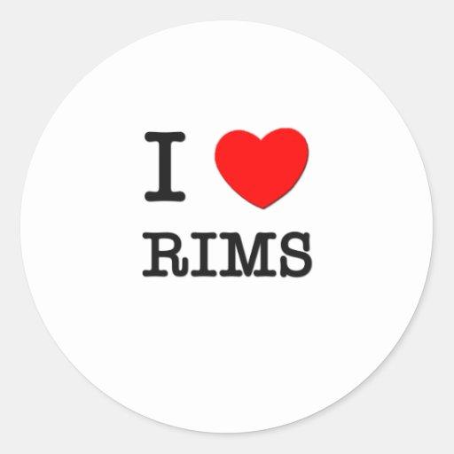 I Love Rims Round Stickers