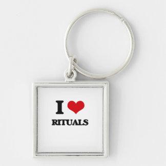 I Love Rituals Silver-Colored Square Keychain