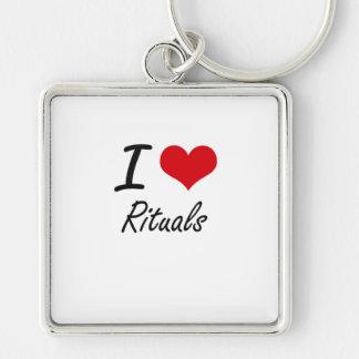 I Love Rituals Silver-Colored Square Key Ring