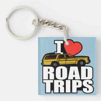 I Love Road Trips Single-Sided Square Acrylic Key Ring
