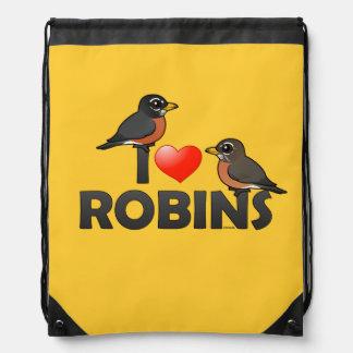 I Love Robins Drawstring Backpacks