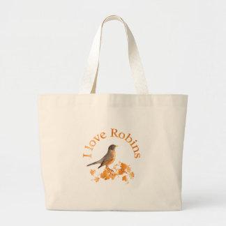 I Love Robins Large Tote Bag