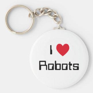 I Love Robots Basic Round Button Key Ring