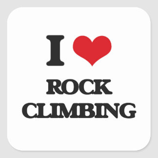 I Love Rock Climbing Square Sticker