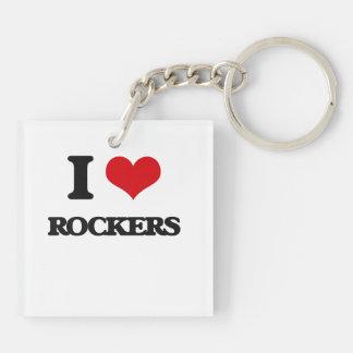 I Love Rockers Double-Sided Square Acrylic Keychain