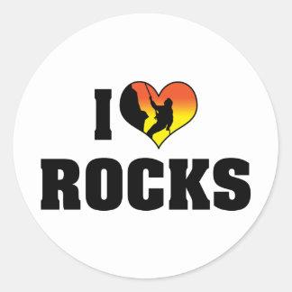 I Love Rocks - Rock Climbing Round Sticker