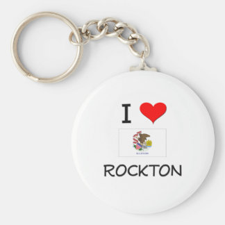 I Love ROCKTON Illinois Basic Round Button Key Ring