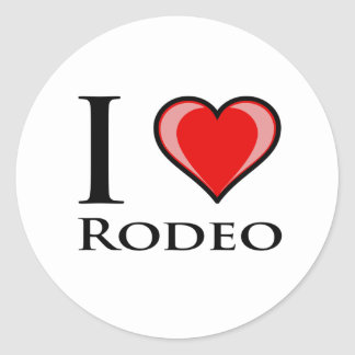 I Love Rodeo Round Sticker