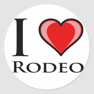 I Love Rodeo Round Stickers