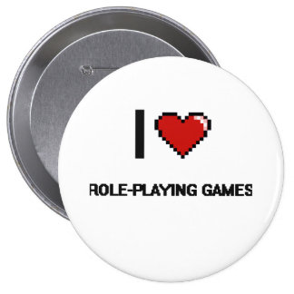I Love Role-Playing Games Digital Retro Design 10 Cm Round Badge