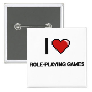I Love Role-Playing Games Digital Retro Design 15 Cm Square Badge