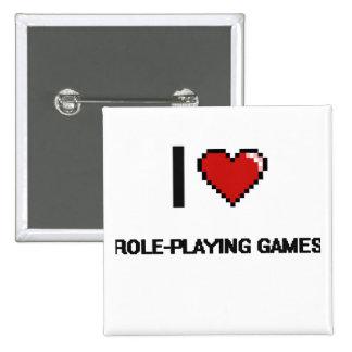 I Love Role-Playing Games Digital Retro Design 15 Cm Square Badge