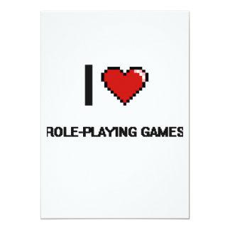 I Love Role-Playing Games Digital Retro Design 5x7 Paper Invitation Card