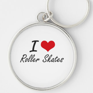 I Love Roller Skates Silver-Colored Round Key Ring