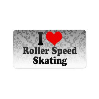 I love Roller Speed Skating Address Label