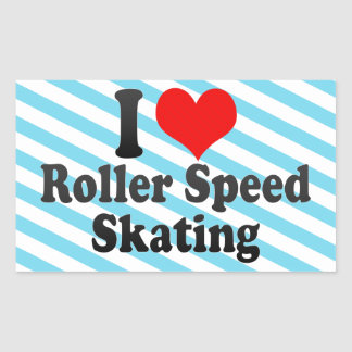I love Roller Speed Skating Rectangular Sticker