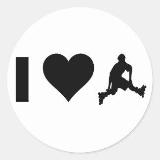 I Love Rollerblading Round Sticker