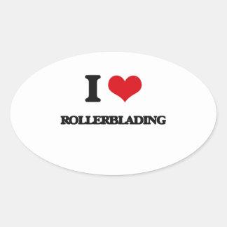 I love Rollerblading Oval Sticker