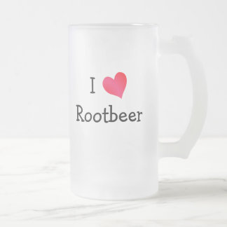 I Love Rootbeer Frosted Glass Mug