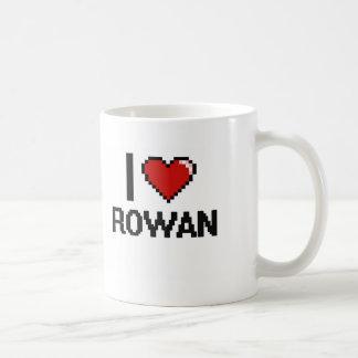 I Love Rowan Digital Retro Design Basic White Mug
