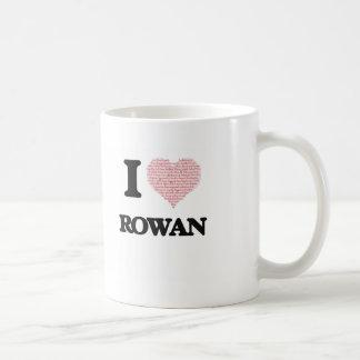 I love Rowan (heart made from words) design Basic White Mug