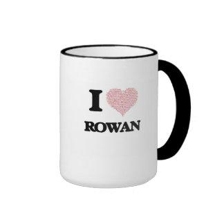 I love Rowan (heart made from words) design Ringer Mug