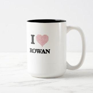 I love Rowan (heart made from words) design Two-Tone Mug