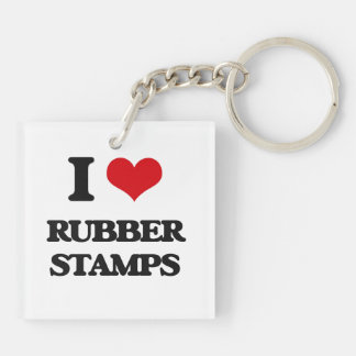 I Love Rubber Stamps Double-Sided Square Acrylic Keychain