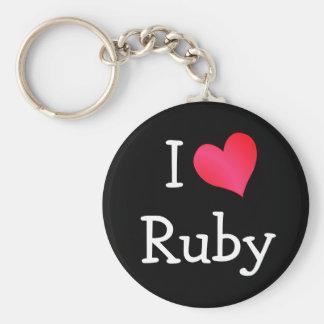 I Love Ruby Basic Round Button Key Ring