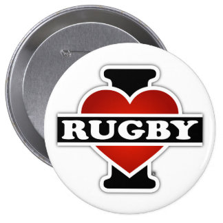 I Love Rugby 10 Cm Round Badge