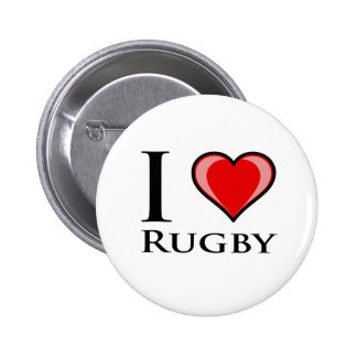 I Love Rugby 6 Cm Round Badge
