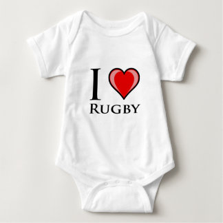 I Love Rugby Baby Bodysuit