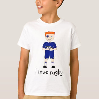 I Love Rugby Cartoon Character in Blue Kit T-Shirt
