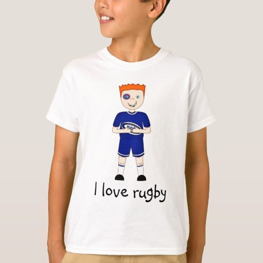 I Love Rugby Cartoon Character in Blue Kit