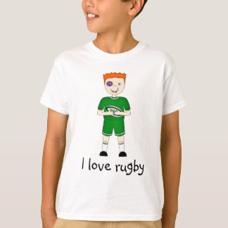 I Love Rugby Cartoon Character in Green Kit T-Shirt