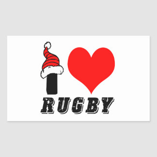 I Love Rugby Design Rectangle Stickers