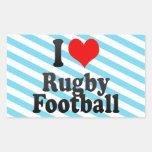 I love Rugby Football Rectangular Sticker