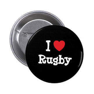 I love Rugby heart custom personalized Buttons