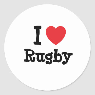 I love Rugby heart custom personalized Classic Round Sticker