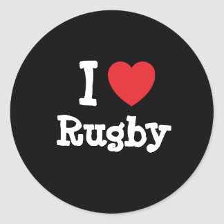 I love Rugby heart custom personalized Round Sticker